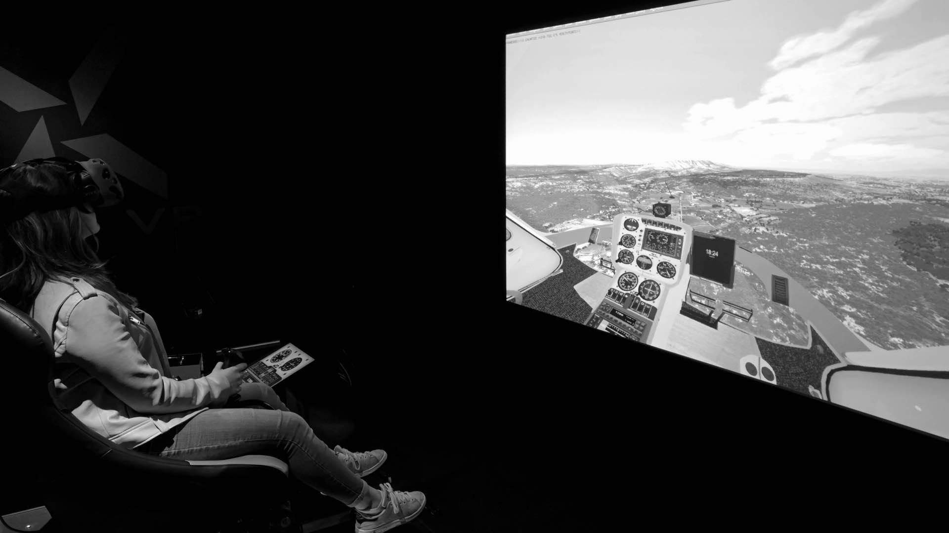 Salle simulation helicoptere realite virtuelle helico